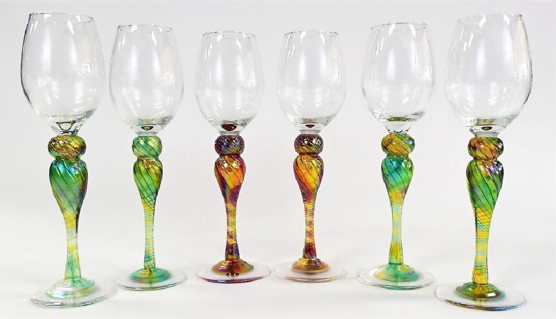 6 NEW ORLEANS IRIDESCENT ART GLASS WINE GLASSES