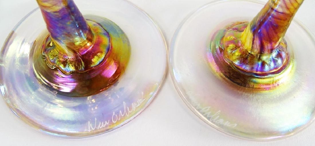 6 NEW ORLEANS IRIDESCENT ART GLASS WINE GLASSES - 3