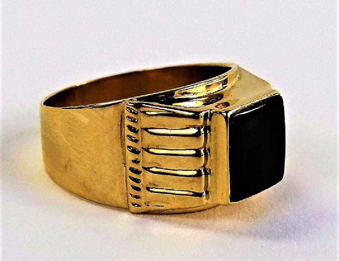 GENTS 18KT YELLOW GOLD & POLISHED ONYX RING - 2