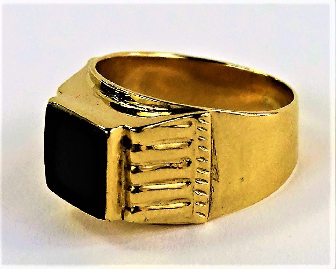 GENTS 18KT YELLOW GOLD & POLISHED ONYX RING - 4