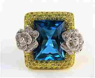 ESTATE 14KT WG TOPAZ & DIAMOND DOUBLE ROSE RING