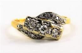 LADIES VINTAGE 14KT TWO TONE GOLD  DIAMOND RING