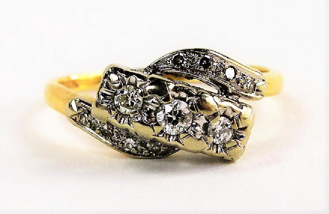 LADIES VINTAGE 14KT TWO TONE GOLD & DIAMOND RING