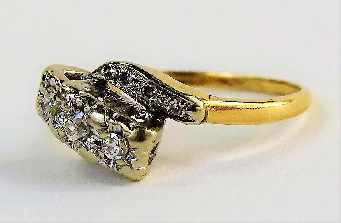 LADIES VINTAGE 14KT TWO TONE GOLD & DIAMOND RING - 2