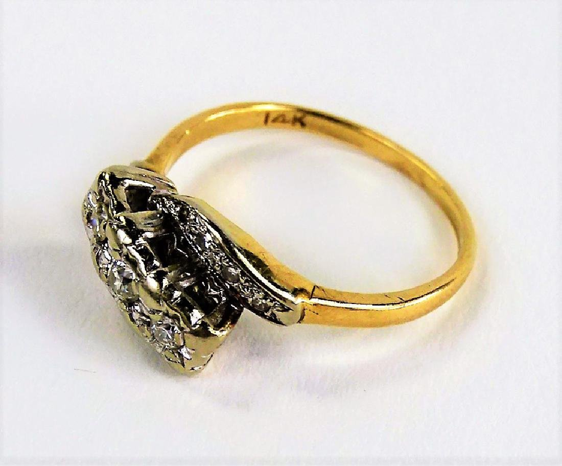 LADIES VINTAGE 14KT TWO TONE GOLD & DIAMOND RING - 3