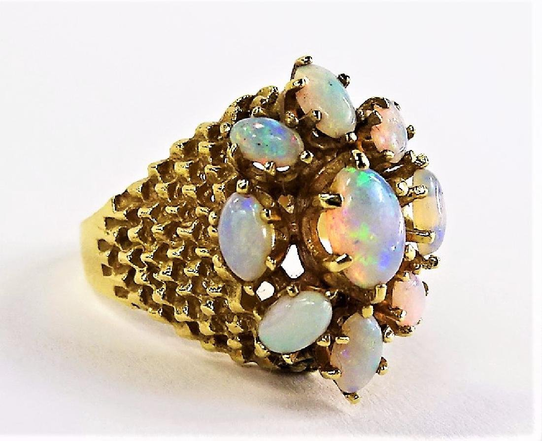 LADIES 14KT YELLOW GOLD OPAL CLUSTER RING - 2