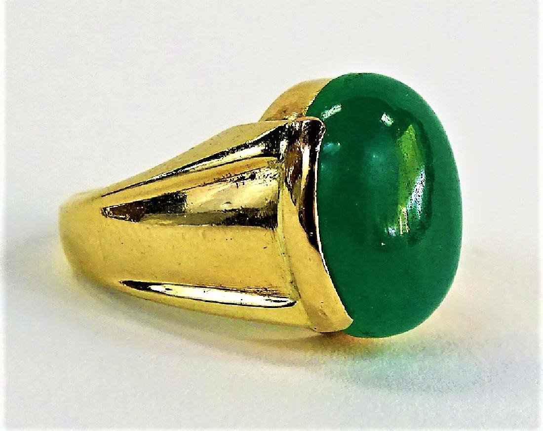 GENTS 14KT YELLOW GOLD & APPLE GREEN JADE RING - 2