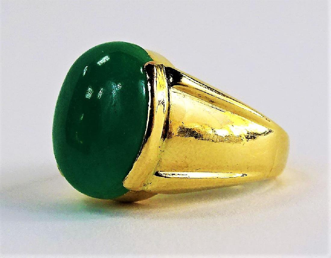 GENTS 14KT YELLOW GOLD & APPLE GREEN JADE RING - 3