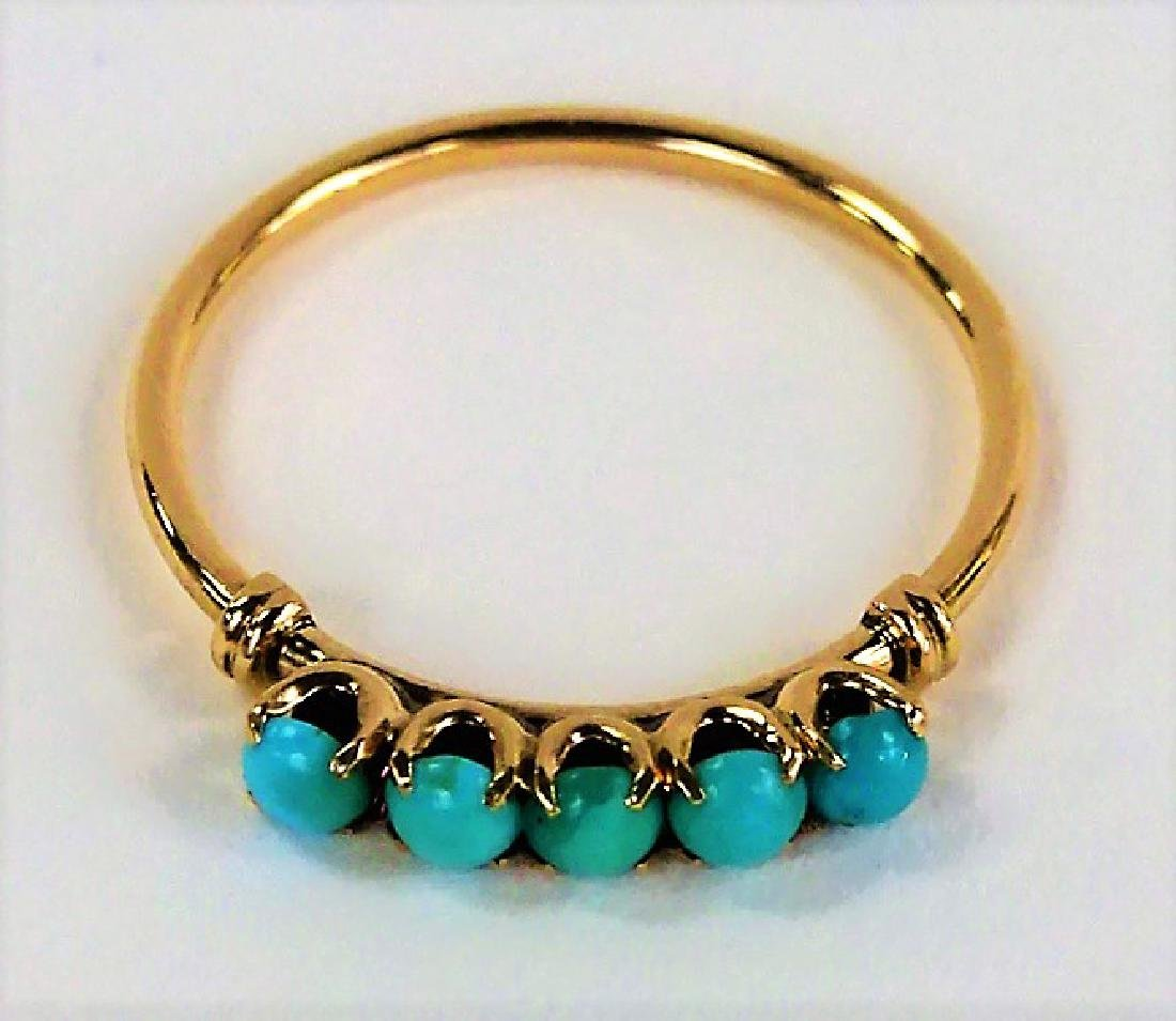 VICTORIAN STYLE 10KT YG TURQUOISE STONE RING
