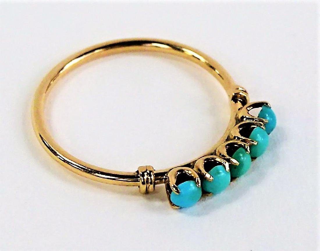 VICTORIAN STYLE 10KT YG TURQUOISE STONE RING - 2