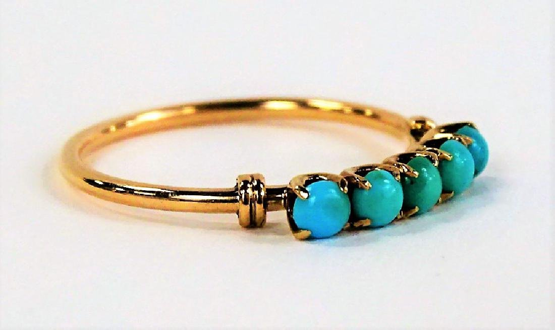 VICTORIAN STYLE 10KT YG TURQUOISE STONE RING - 3