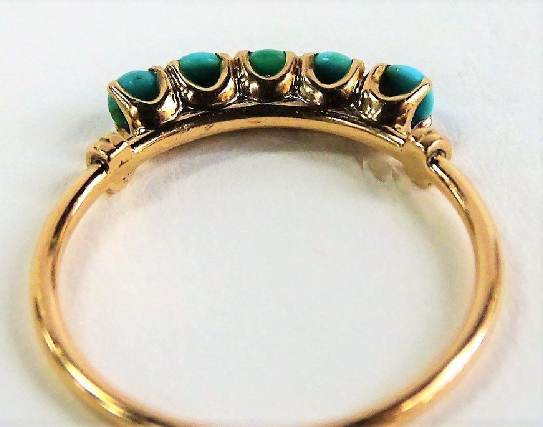 VICTORIAN STYLE 10KT YG TURQUOISE STONE RING - 4