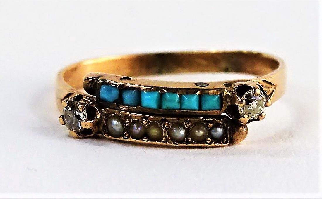 14KT RG DIAMOND TURQUOISE & SEED PEARL RING