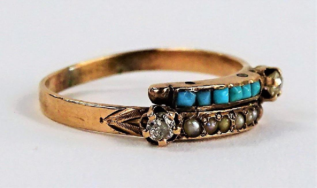 14KT RG DIAMOND TURQUOISE & SEED PEARL RING - 2