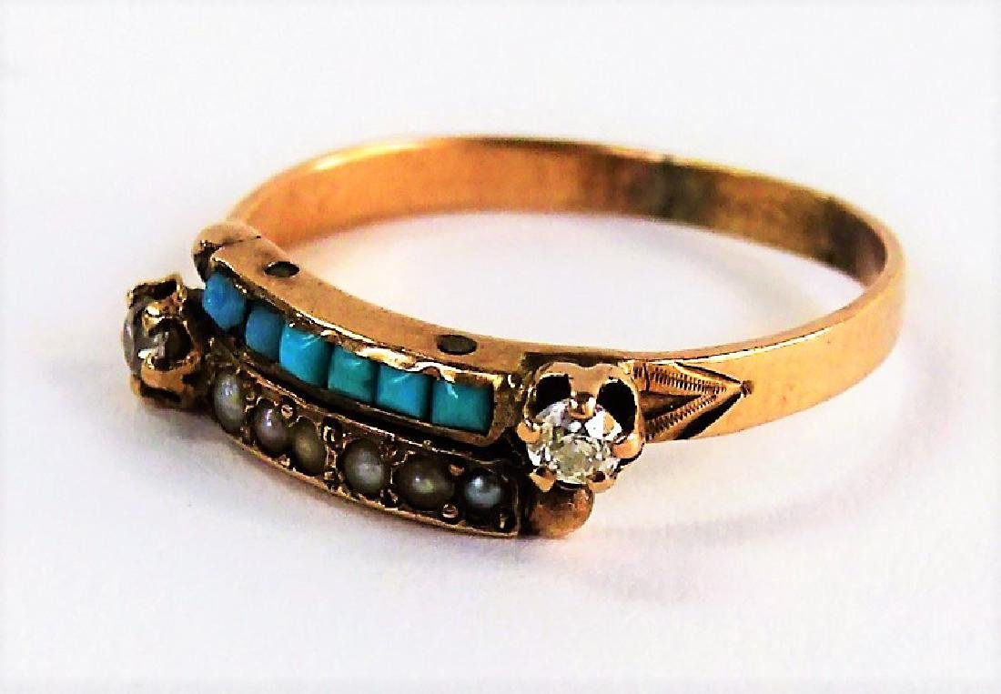 14KT RG DIAMOND TURQUOISE & SEED PEARL RING - 3