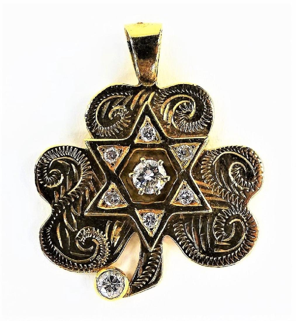 14KT YG DIAMOND STAR OF DAVID CLOVER PENDANT