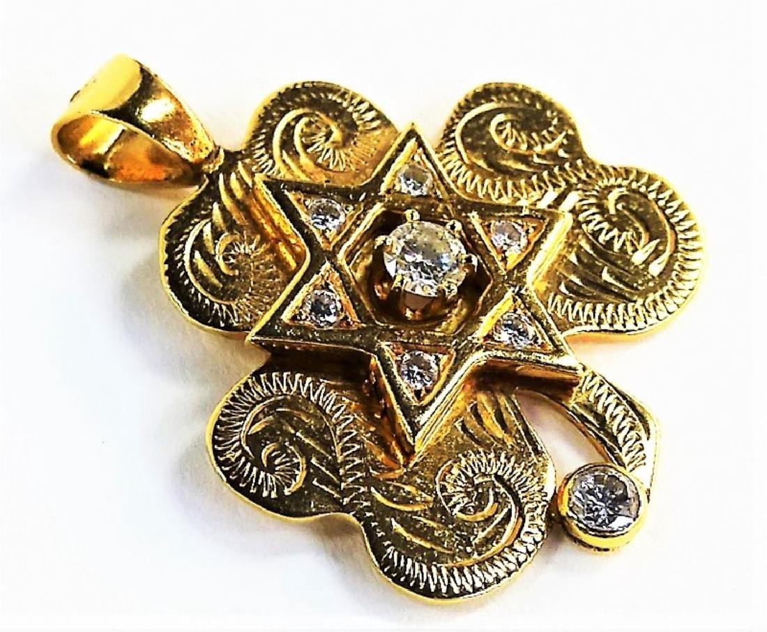 14KT YG DIAMOND STAR OF DAVID CLOVER PENDANT - 2