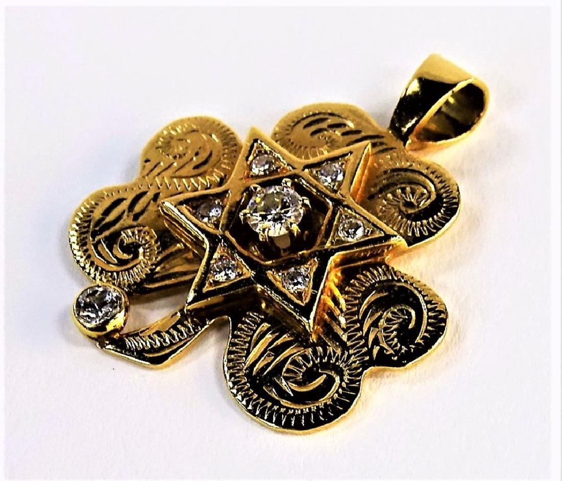 14KT YG DIAMOND STAR OF DAVID CLOVER PENDANT - 3