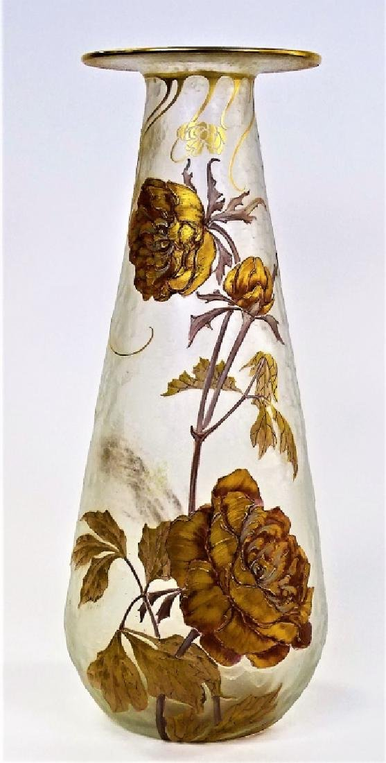 TALL ANTIQUE MONT JOYE FLORAL CAMEO GLASS VASE