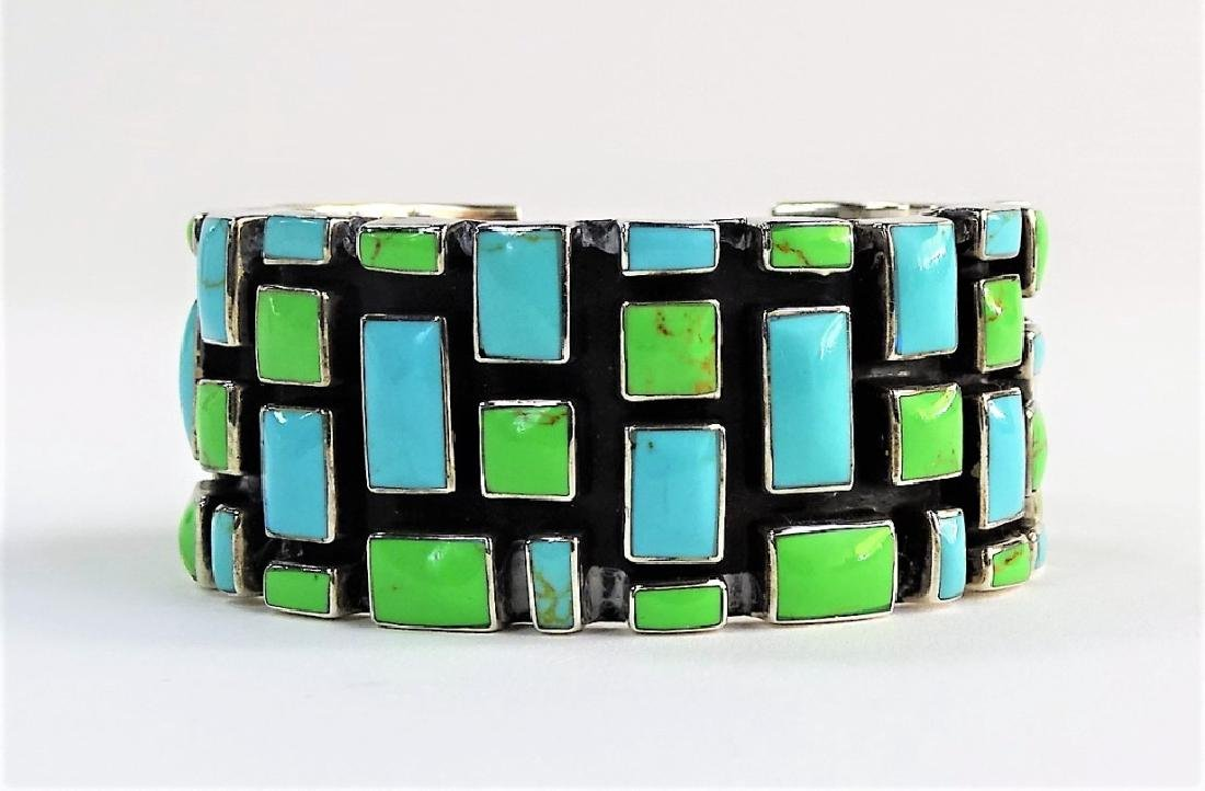 VTG MEXICAN STERLING & TURQUOISE CUFF BRACELET