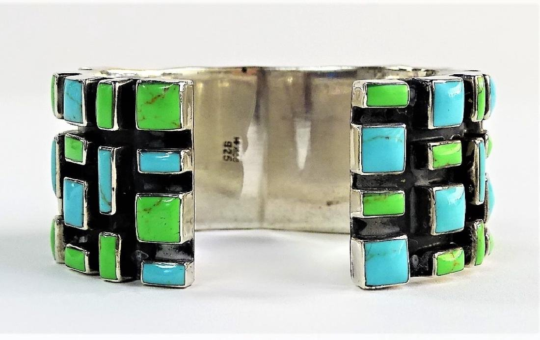 VTG MEXICAN STERLING & TURQUOISE CUFF BRACELET - 2