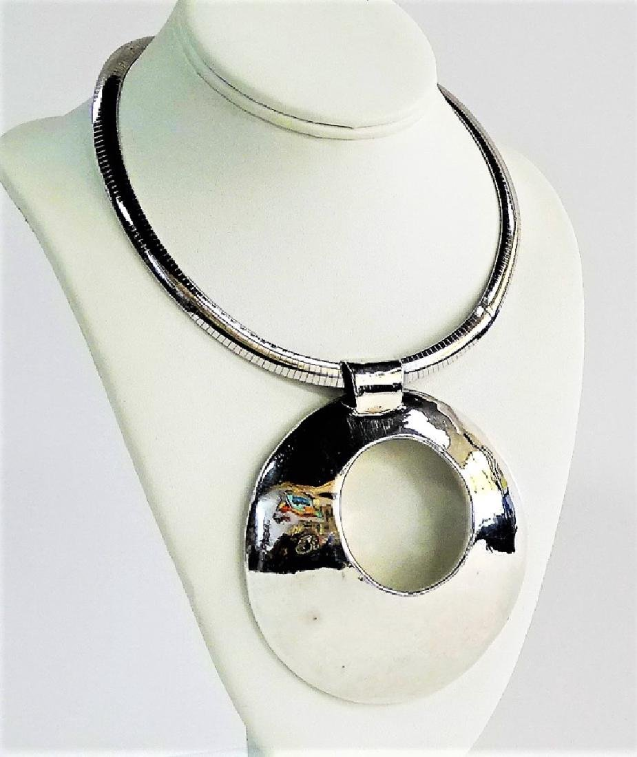 RETRO STYLE STERLING SILVER COLLAR NECKLACE - 2