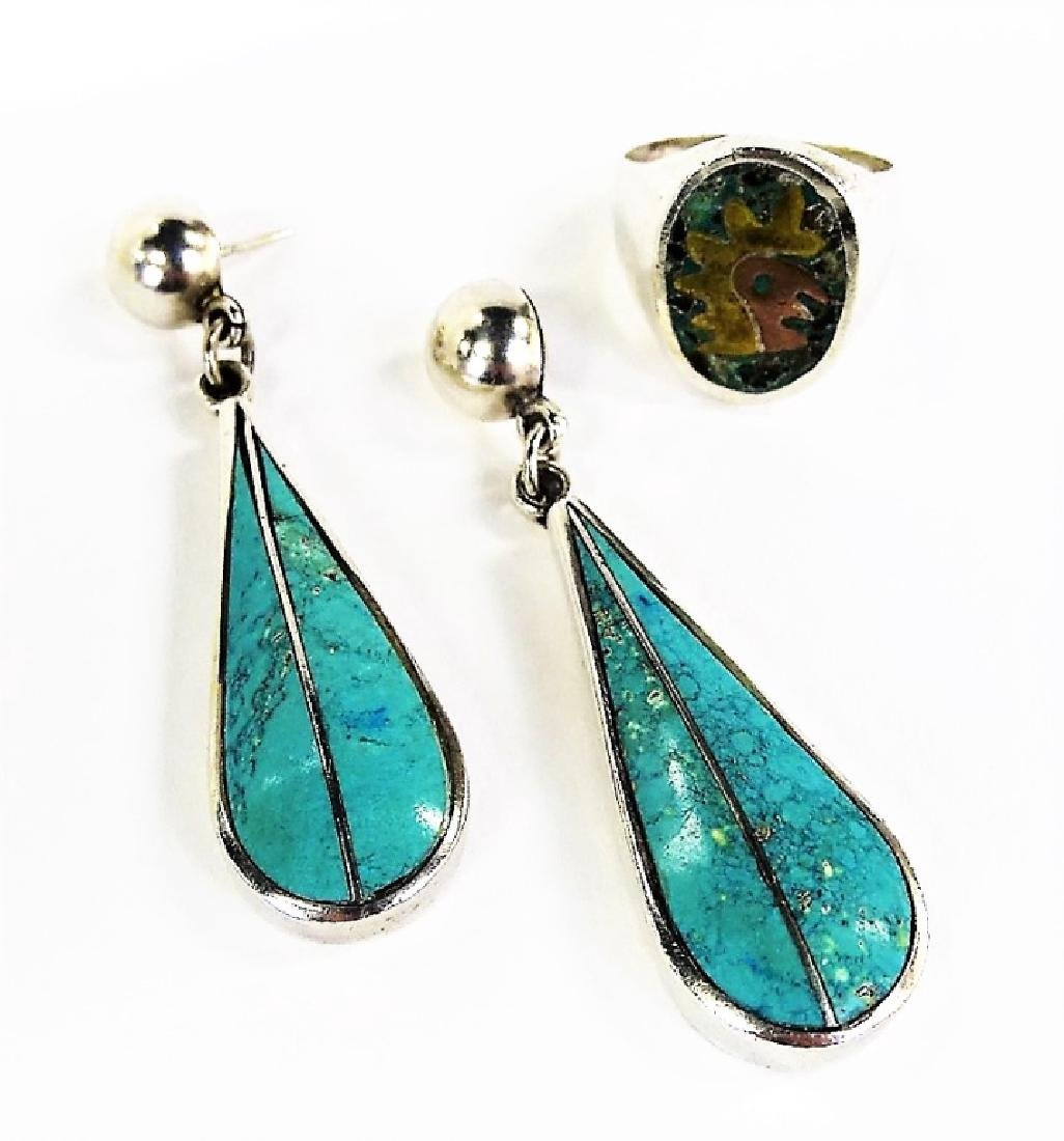 VTG TAXCO MEXICO STERLING SILVER TURQUOISE JEWELRY