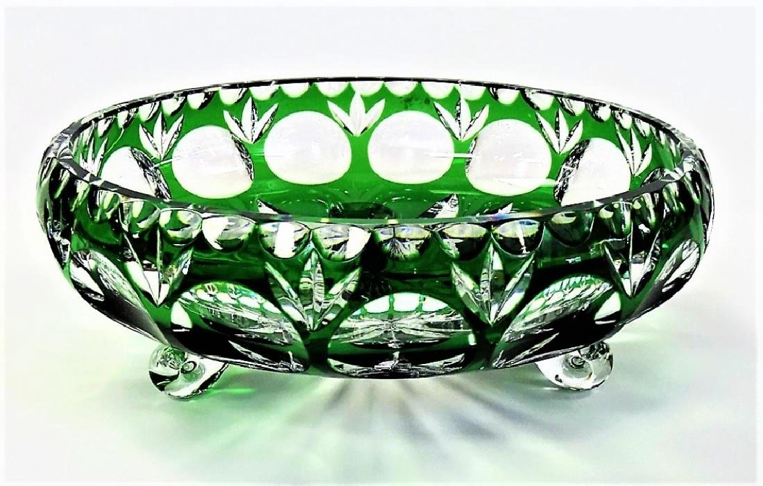 BOHEMIAN EMERALD CUT TO CLEAR CENTERPIECE BOWL
