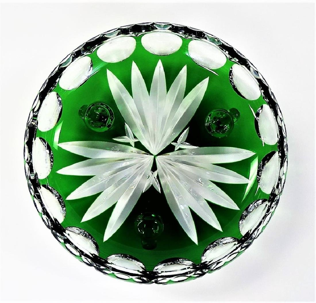 BOHEMIAN EMERALD CUT TO CLEAR CENTERPIECE BOWL - 3