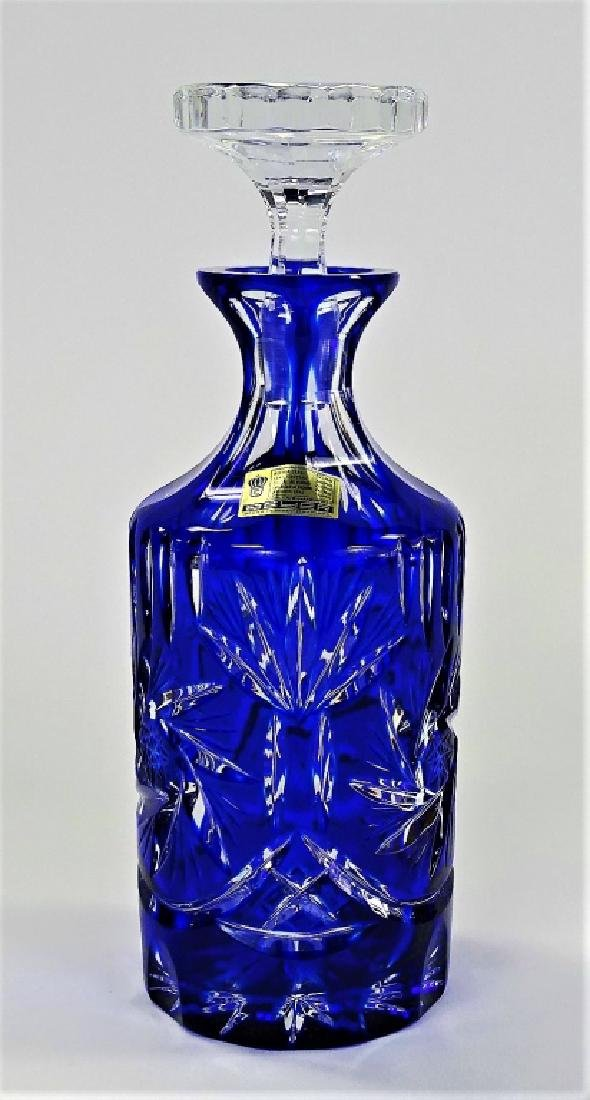 GERMAN COBALT CUT TO CLEAR CRYSTAL DECANTER BOTTLE