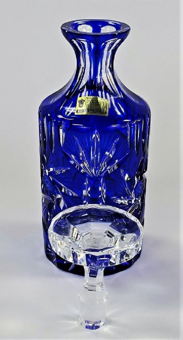 GERMAN COBALT CUT TO CLEAR CRYSTAL DECANTER BOTTLE - 2