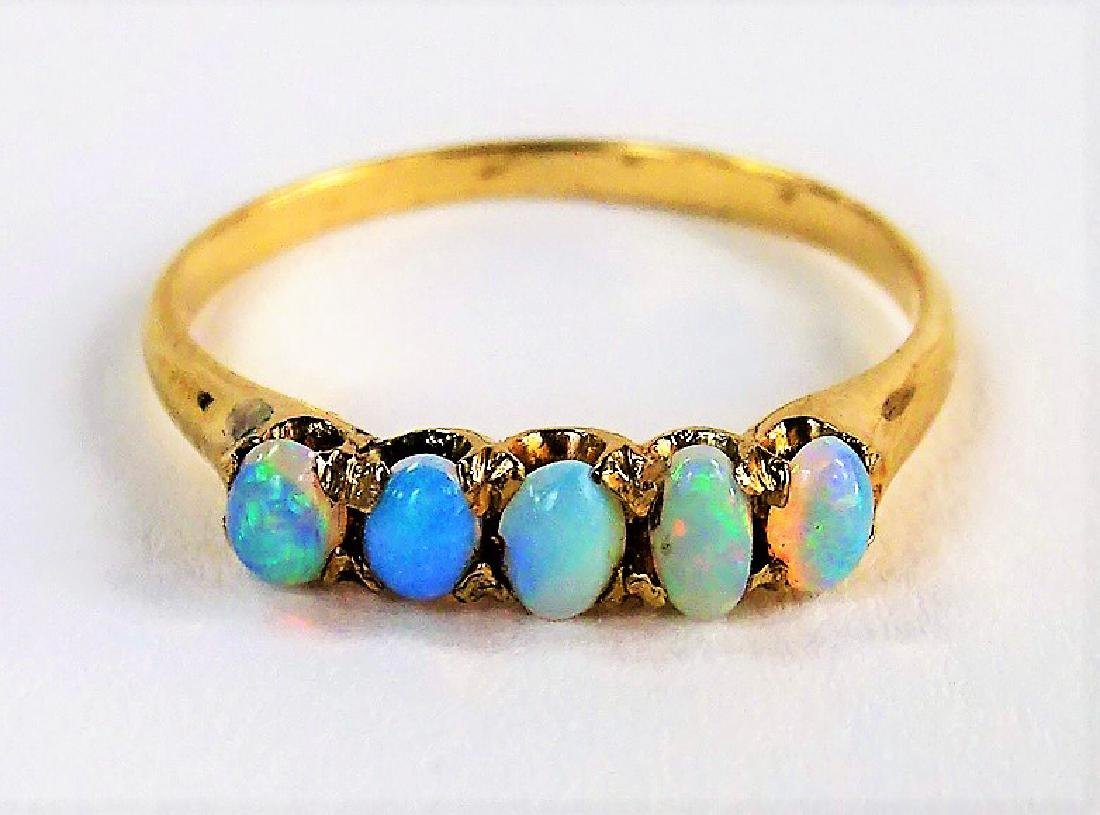 LADIES ANTIQUE 14KT YELLOW GOLD & OPAL RING
