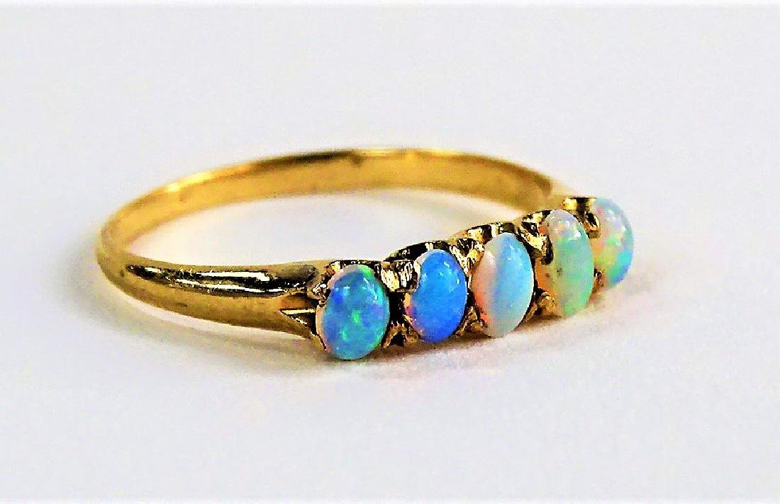 LADIES ANTIQUE 14KT YELLOW GOLD & OPAL RING - 2