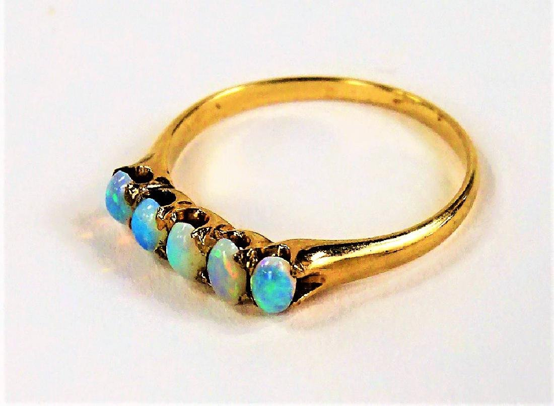 LADIES ANTIQUE 14KT YELLOW GOLD & OPAL RING - 3