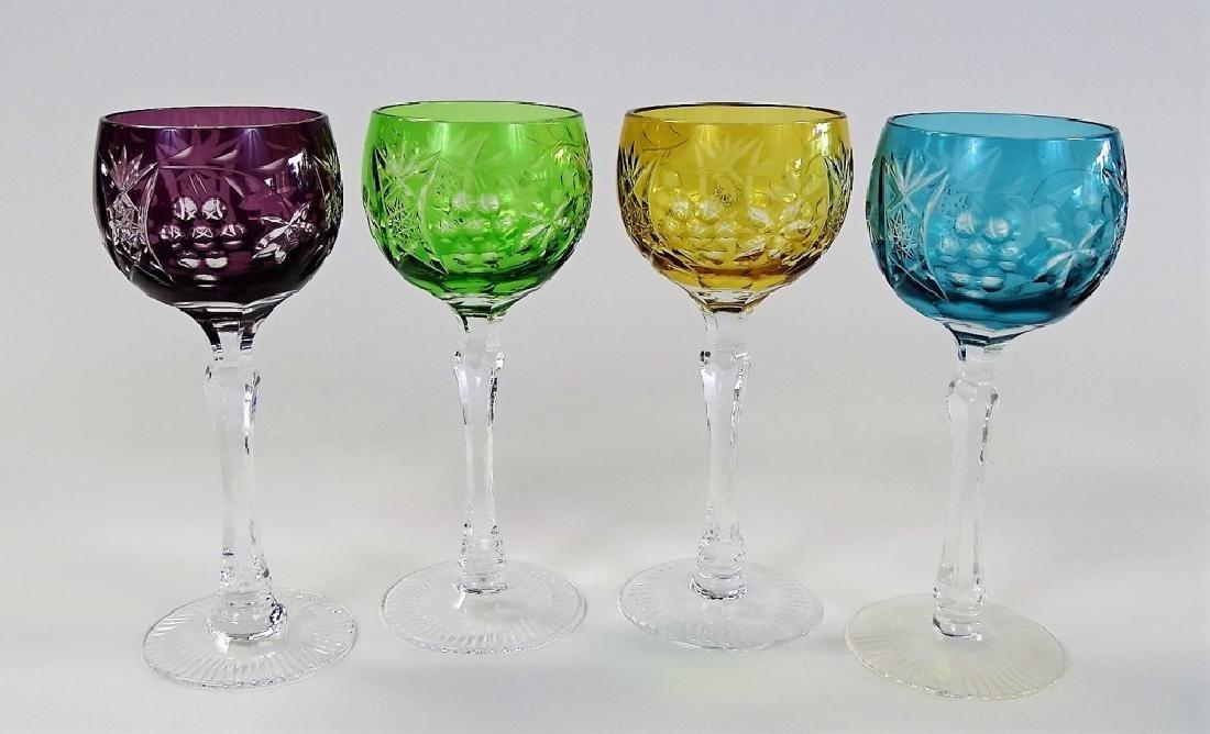 4 VTG BOHEMIAN CUT GLASS STEMWARE GLASSES
