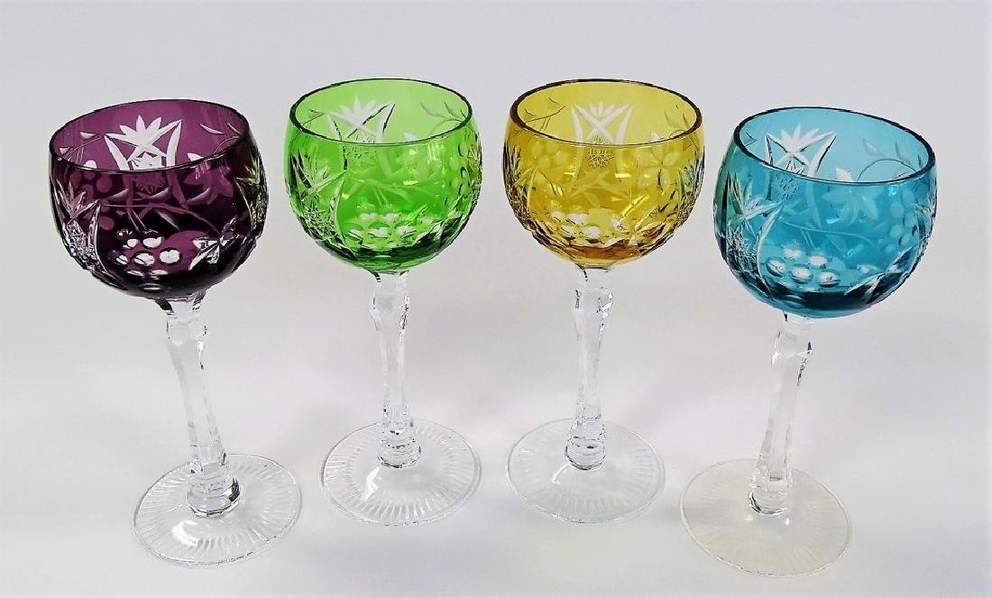 4 VTG BOHEMIAN CUT GLASS STEMWARE GLASSES - 2