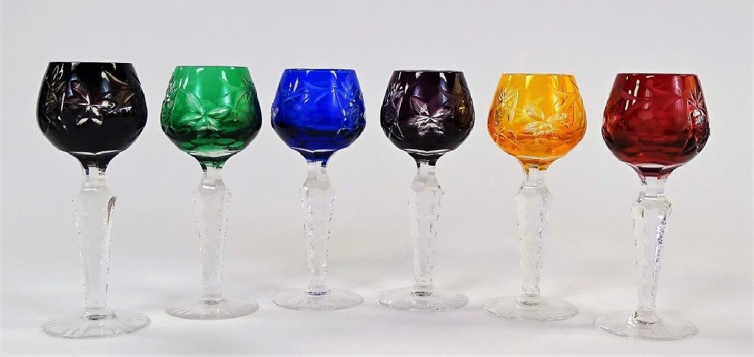 6 VTG BOHEMIAN CUT TO CLEAR CORDIAL GLASSES