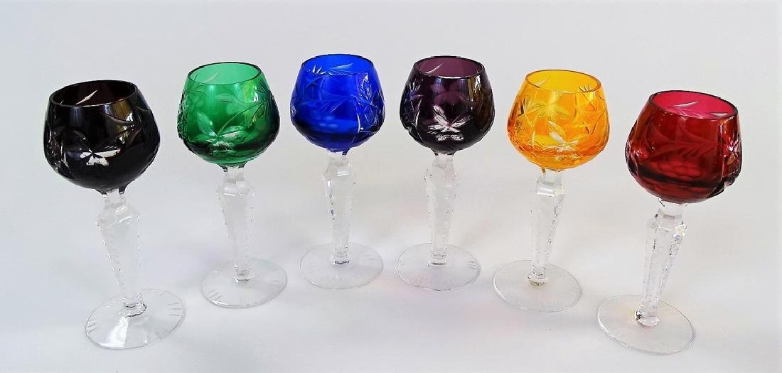 6 VTG BOHEMIAN CUT TO CLEAR CORDIAL GLASSES - 2