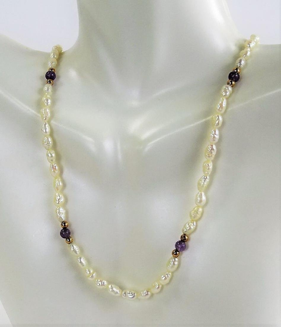CHINESE 14KT Y GOLD AMETHYST AND PEARL NECKLACE