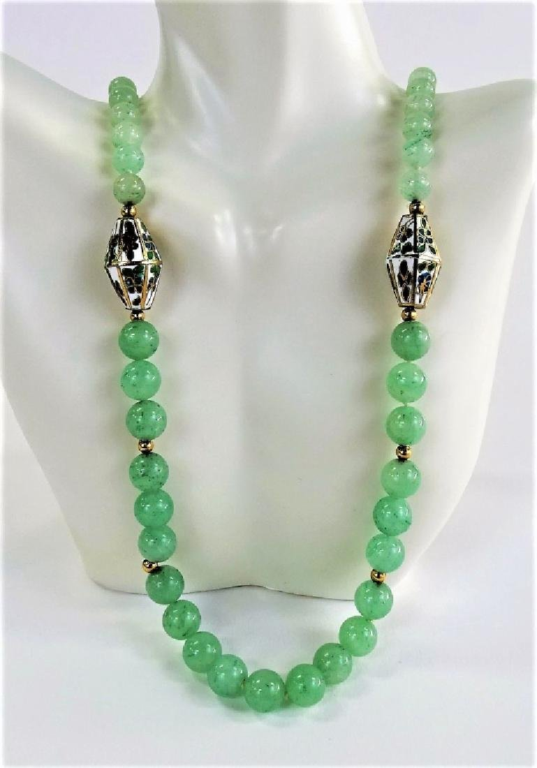 CHINESE JADE AND CLOISONNE LADEIES BEADED NECKLACE
