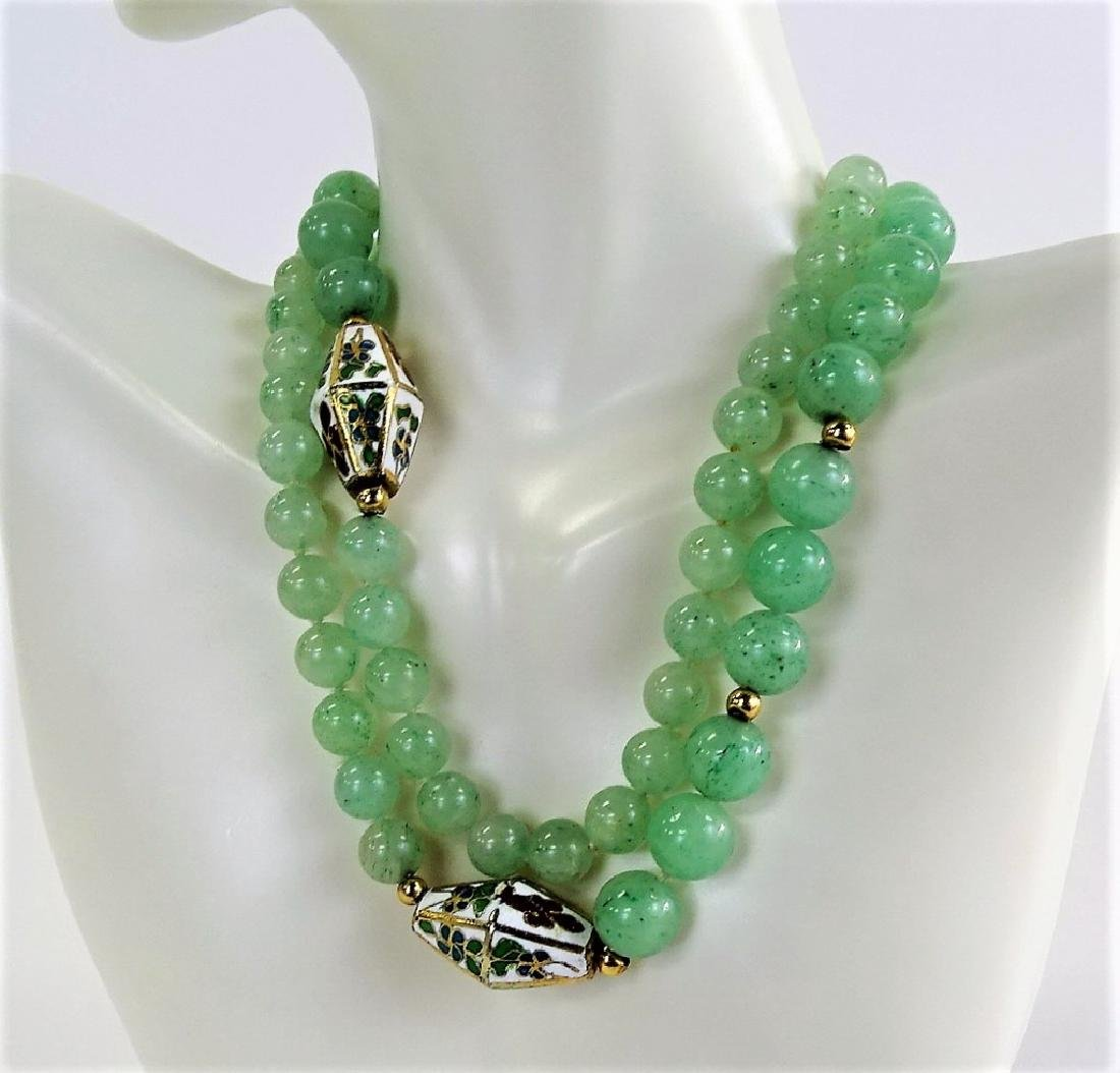 CHINESE JADE AND CLOISONNE LADEIES BEADED NECKLACE - 2
