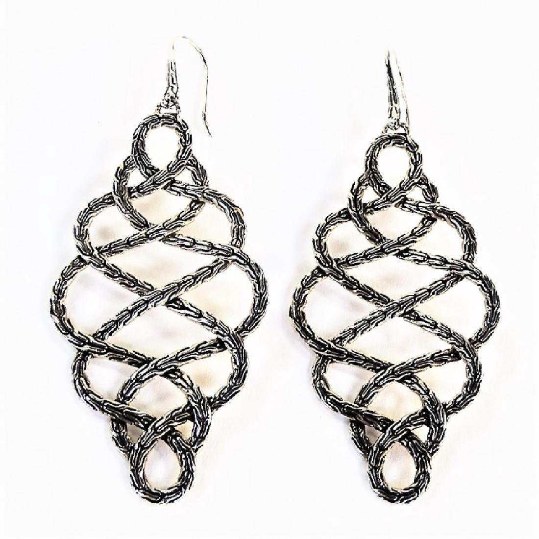 PR JOHN HARDY BRAIDED STERLING DROP EARRINGS