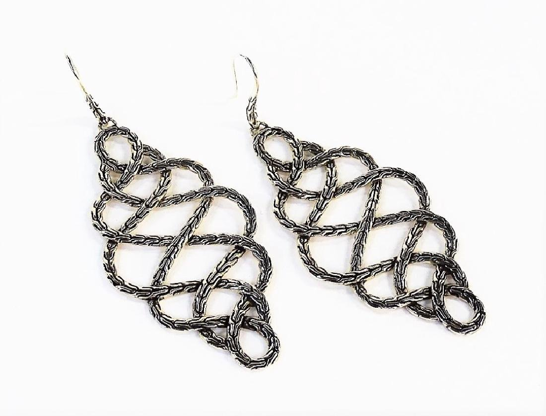 PR JOHN HARDY BRAIDED STERLING DROP EARRINGS - 4