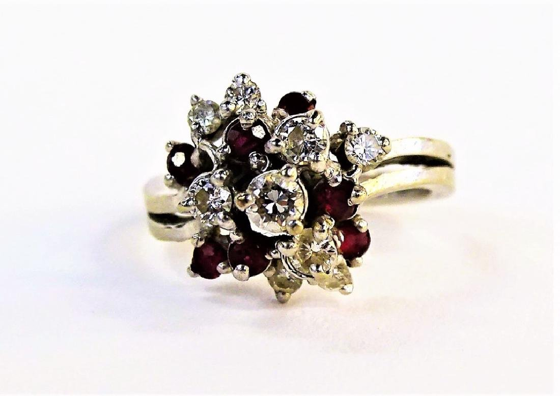 LADIES 14KT WG DIAMOND & RUBY CLUSTER RING
