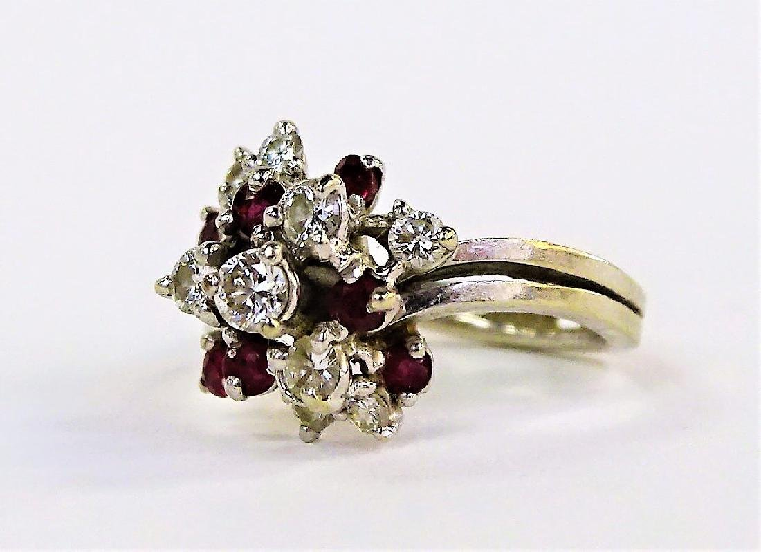 LADIES 14KT WG DIAMOND & RUBY CLUSTER RING - 3