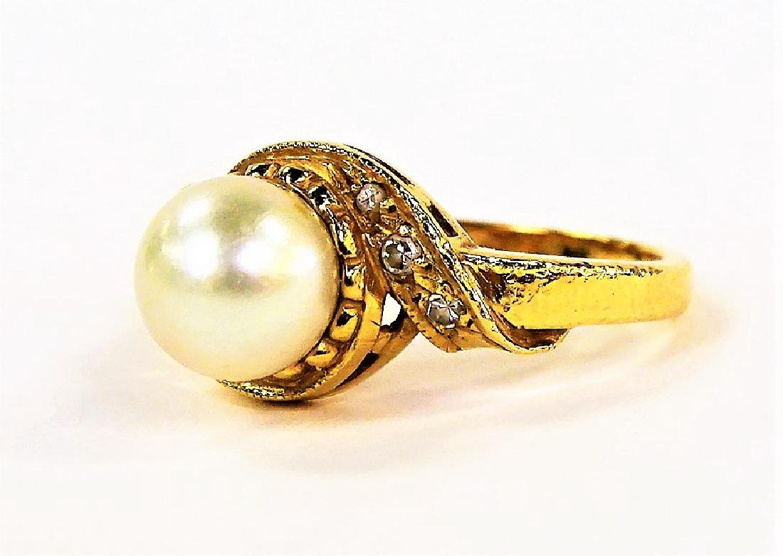 LADIES FANCY 14KT YELLOW GOLD PEARL & DIAMOND RING - 3