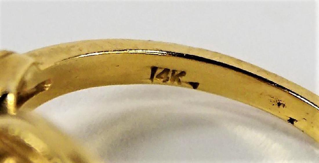 LADIES FANCY 14KT YELLOW GOLD PEARL & DIAMOND RING - 4