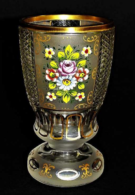 Antique Moser Hand Painted Cut Crystal Footed Vase