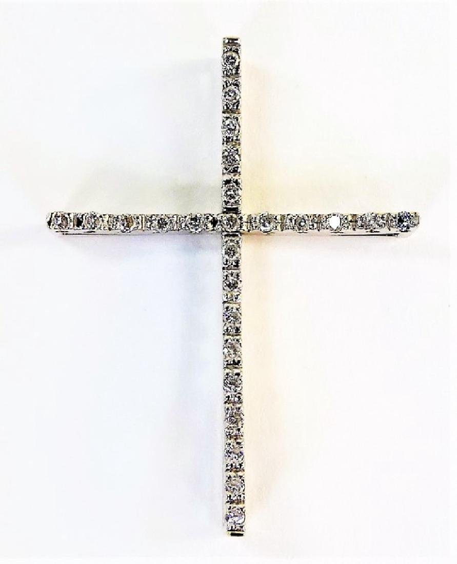 ITALIAN 14KT WHITE GOLD & DIAMOND CROSS PENDANT - 2