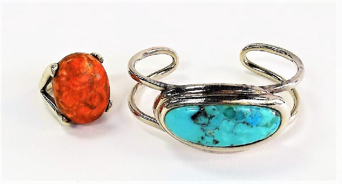 BARSE HEAVY STERLING TURQUOISE BANGLE CORAL RING